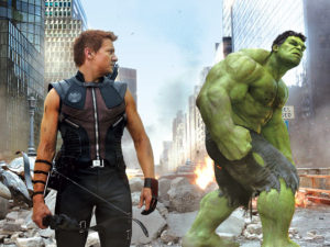 Hawkeye watches the Hulk in The Avengers
